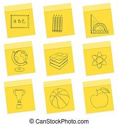 estudo, esboço, ícones