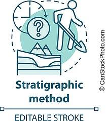 estudo, icon., stratigraphic, rgb, vetorial, escavação, ...