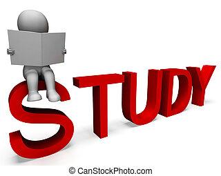 estudo, palavra, mostrando, educação, ou, aprendizagem