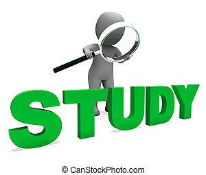 estudo, personagem, mostra, estudar, aprendizagem, ou, educação