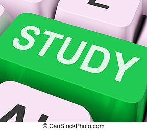 estudo, tecla, mostra, aprendizagem online, ou, educação