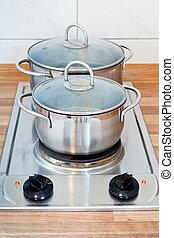 estufa, cocina, eléctrico, hotplate