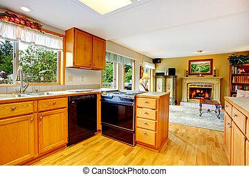 estufa, gabinetes, negro, washdisher, cocina