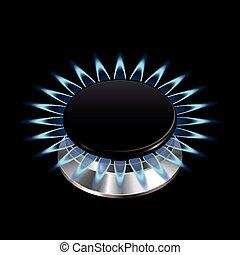 estufa, gas, aislado, vector, llama, negro