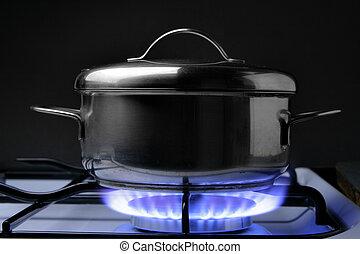 estufa, gas, cántaro