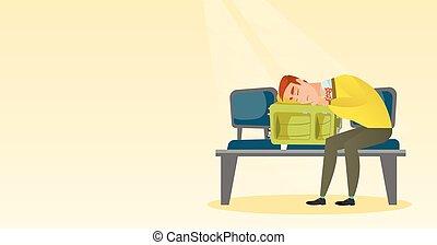 esvaziado, aeroporto., mala, homem dormindo