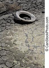 esvaziado, car, pneu