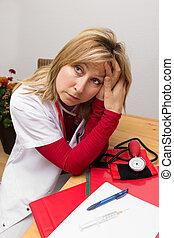 esvaziado, enfermeira