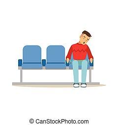 esvaziado, trem, ilustração, dormir, aeroporto, vetorial, estação, cadeira, ou, homem
