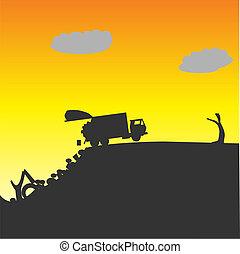 esvaziando, caminhão, lixo, desperdícios