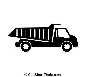 esvaziando, construção, caminhão, entulho