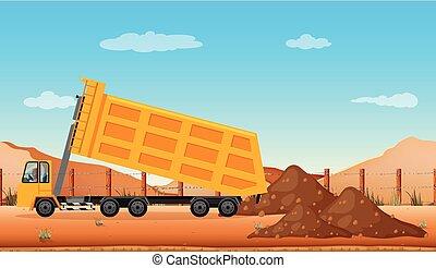 esvaziando, construção, caminhão, local