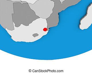 eSwatini on 3D globe