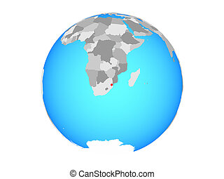 eSwatini on globe isolated