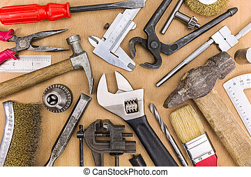 eszközök, állhatatos, öreg, kéz