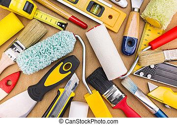 eszközök, állhatatos, festmény