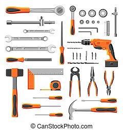 eszközök, állhatatos, modern, szerelő