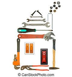 eszközök, épület