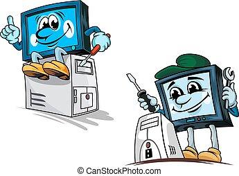 eszközök, computer repairman, karikatúra, betűk