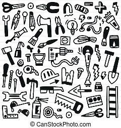 eszközök, -, dolgozó, doodles