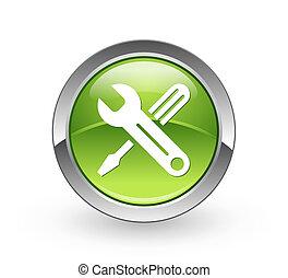 eszközök, gombol, -, zöld sphere