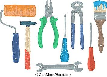 eszközök, hardver, rajz
