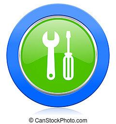 eszközök, ikon, szolgáltatás, aláír