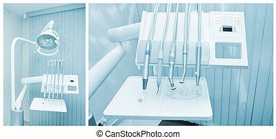 eszközök, közül, fogász, alatt, egy, fogász hivatal