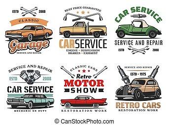 eszközök, rendbehozás, szolgáltatás, ikonok, autók, szüret