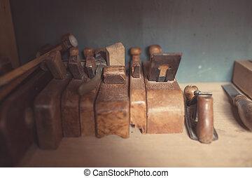eszközök, színezett, woodworking, öreg, retro