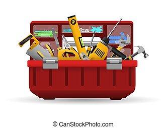 eszközök, szerszámosláda, felszerelés, eszköz