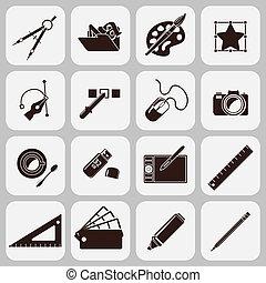 eszközök, tervező, fekete, ikonok