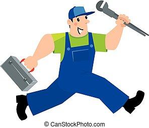 eszközök, vízvezeték szerelő, repairman, futás, vagy