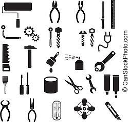 eszközök, vektor, -, ikonok