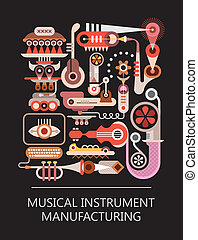 eszköz, gyári, zenés