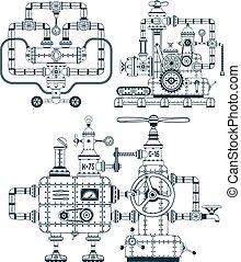 eszköz, monochrom, fantasztikus, ipari, állhatatos