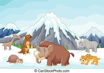 età, animali, cartone animato, collezione, ghiaccio