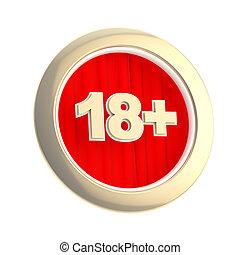 età, isolato, rotondo, limite, (18+), simbolo
