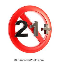 età, isolato, rotondo, limite, simbolo, (21+)