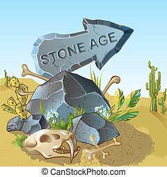 età, puntatore, pietra, sagoma, cartone animato