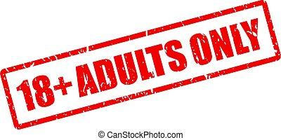 età, soltanto, francobollo, adulti, 18+, vettore, restrizione