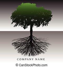 etéreo, árbol, raíces, plano de fondo