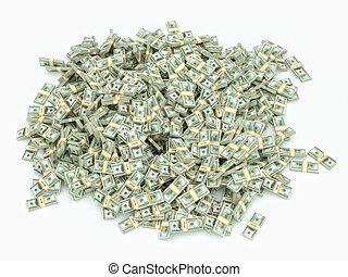 et lot, i, penge, på hvide, overflade
