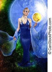 e.t., vrouw, met, gouden, planeet