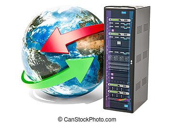 etagère., réseau, concept, globe global, serveur, rendre, la terre, 3d