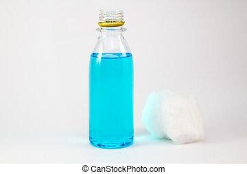 etanol, alcohol, frotamiento, aislado, botella, blanco