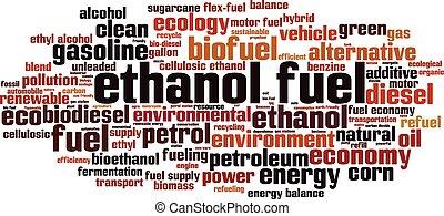 etanol, combustible, palabra, nube