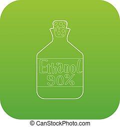etanol, en, botella, icono, verde, vector