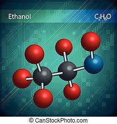 etanol, molekuły