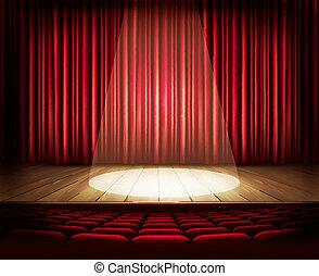 etapa, asientos, teatro, spotlight., cortina, rojo, vecto